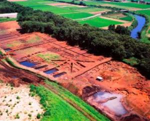 寺野東遺跡全景(発掘調査時のもの)