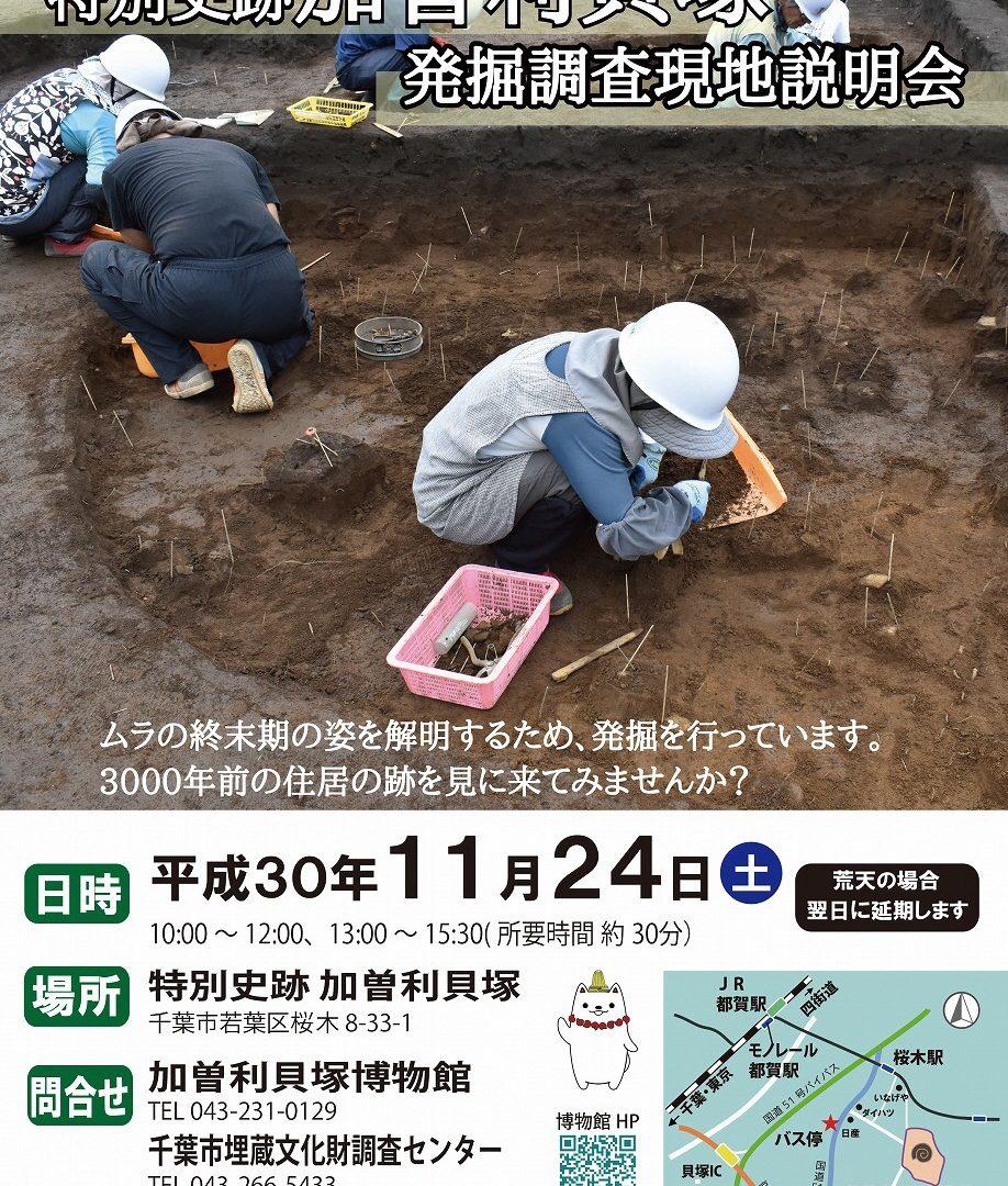 特別史跡加曽利貝塚 発掘調査現地説明会を開催します