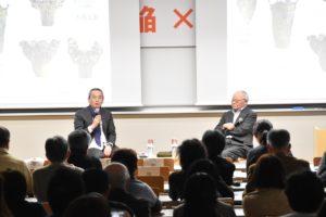 土井善晴さんと小林達雄会長のトークショー